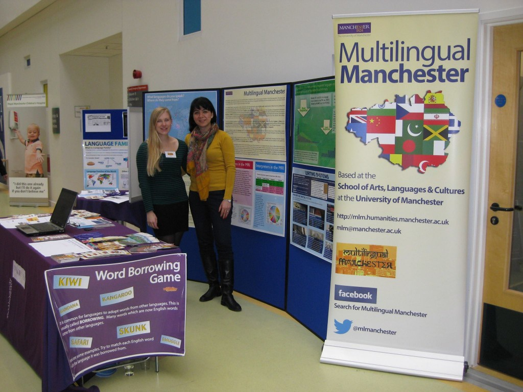 Multilingual Manchester presentation stand