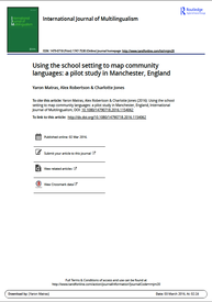 Front cover of: Using the school setting to map community languages: a pilot study in Manchester, England